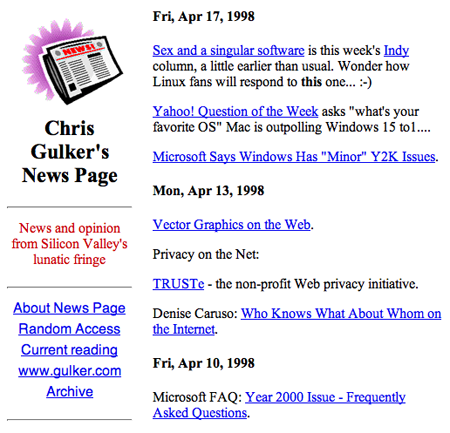 gulker.com blog circa 1998