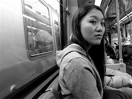 Young woman on the N judah