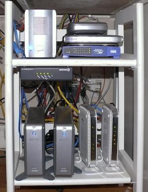The World HQ LAN rack