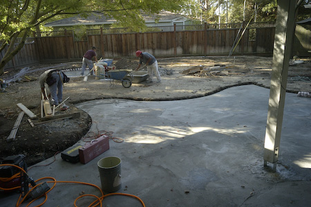 Patio after concrete for bricks was poured