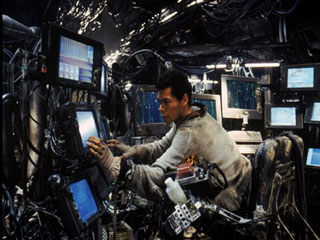 Tank at controls of the Nebuchadnezzar in the film 'Matrix'