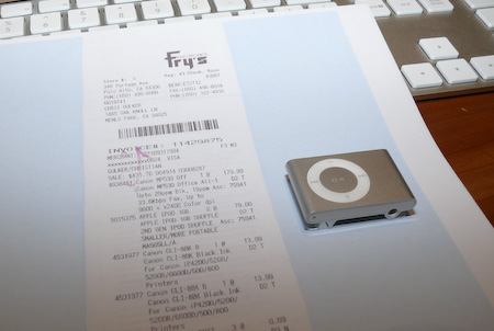 Fry's receipt retrieved via the 'paperless' system