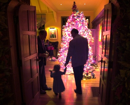 Granddad Mike, granddaughter Madeline and dad Nick silhouetted in front of Cathy's famous Christmas tree