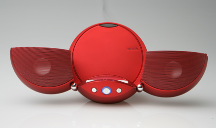 Ladybug flip-out speakers for iPod