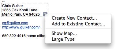 Leopard contact info menu