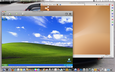 VMware and Parallels running Windows XP and Ubuntu