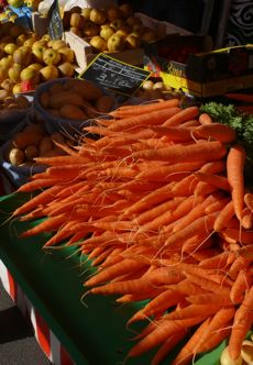 Carrots on a stand at the big marche at Louhans