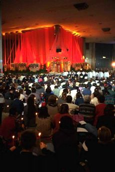Service in church at Taize