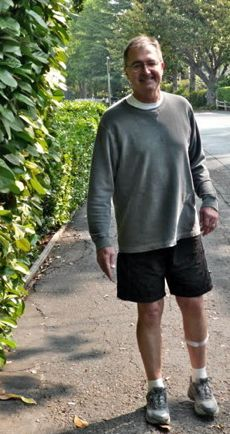 Chris walking without cane