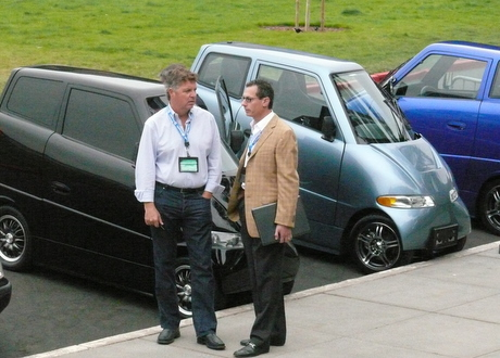 Tony Perkins with Commuter Cars Corporationâ??s Tango electric cars