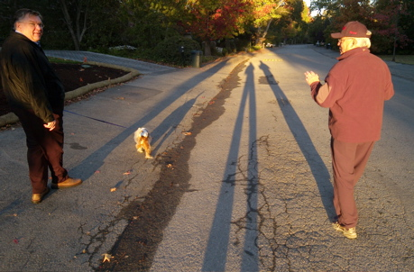 Scott Loftesness, Tiger Lily, David Perry and I cast long shadows on this morning's walk