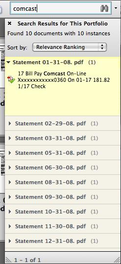 Search results from an Acrobat PDF Portfolio